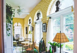 Harriet Cole's sunporch shows off her own sculptures.