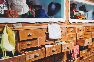 Drawers of 1950's undies, vintage placemats and more at Wishbone Reserve.