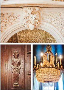 Clockwise from top, the original fireplace cast by William Henry Rinehart, a 19th-century Maryland sculptor in the front dining room, an antique Waterford chandelier in the upstairs bar and wood carvings by Lockwood de Forest will all remain in the reborn Elephant.