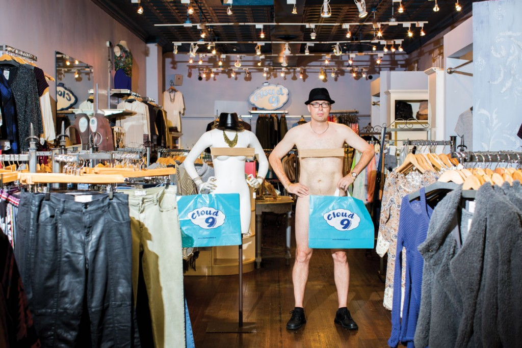 """""""Mr. October,"""" Randy Shayotovich of Cloud 9, as manly mannequin."""