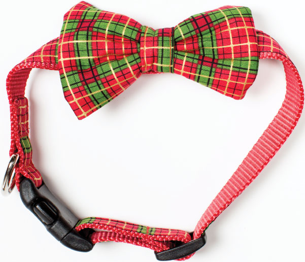 TIEBREAKER For the family dog who hankers to join the red-and-green scene, this plaid bowtie collar makes for a super-adorable photo op. $24, at Paws pet boutique in Annapolis.