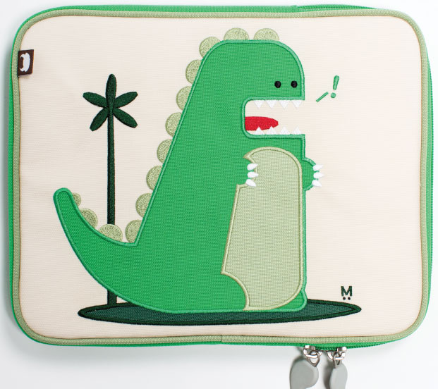 IN CASE! Got an iPad-toting tot in your household? Percival the dinosaur adorns this precious iPad Case by Beatrix New York—attractive and apt to protect the pricy device stored inside. $32, from Wheat in Annapolis.