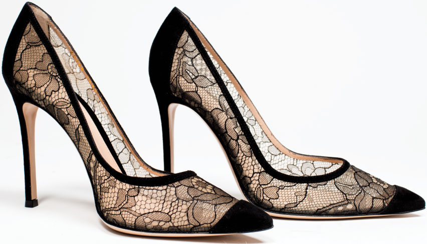 HEEL! The Gianvitto Rossi black lace dress heel is the kind of shoe that could turn a dreaded holiday gathering into an affair to remember. $795, at Ruth Shaw in Cross Keys.