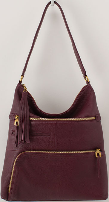 WINE SNOB The Flint shoulder bag (in wine) is a practical pick for almost any fashion-savvy woman who works 9 to 5. Goes from day to evening in a zip. $238, at Hobo in Annapolis.