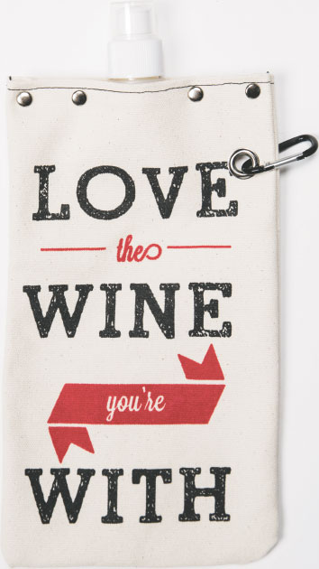 GRAPE NUTS On-the-go wine flasks are in demand because they're efficiently transportable and reusable. This Tote & Table wine bottle flask blends added humor. $23, at The Wine Bin in Ellicott City.
