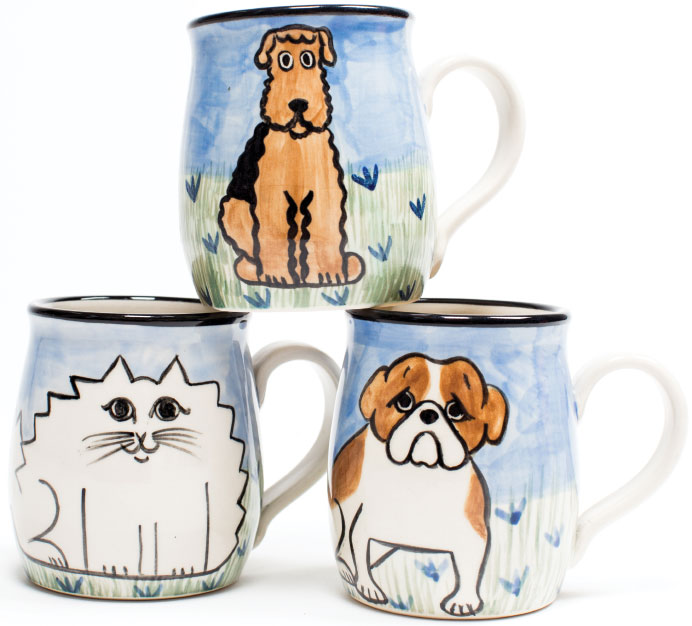 MEOW! Artistic mugs for the animal lovers at your coffee table. $27 each, at Paws pet boutique in Annapolis.