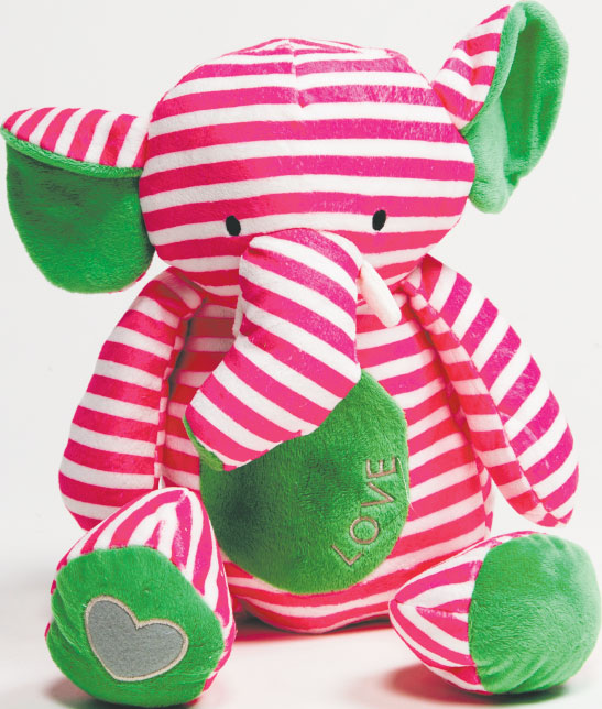NEVER FORGET The plush Bella Tunno elephant is sure to make your little one grin—and a portion of all sales goes to feed the hungry. $34, Wee Chic at Green Spring Station.