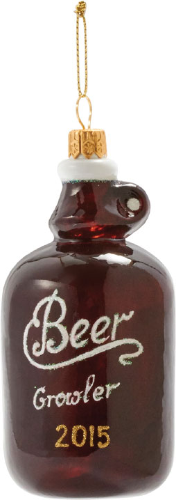 ORNAMENTAL Give your guy an ornament he'll treasure always, because it speaks to his top hobby: beer. The Beer Growler glass ornament: $20, at Sur La Table in Annapolis.