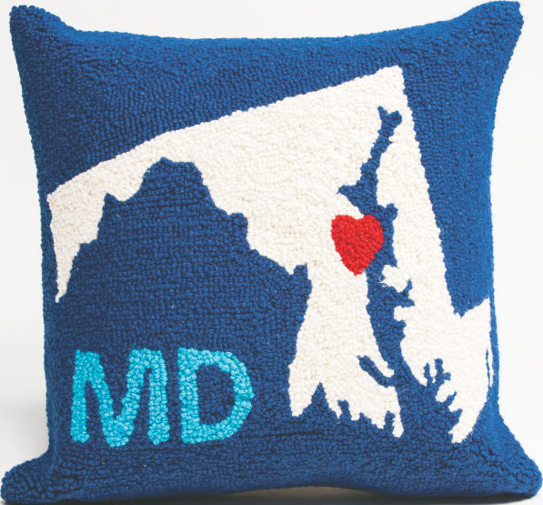 CUSHY This handsome handmade Maryland pillow roots for our home state without wrecking our color palette. $58, at Becket Hitch in Green Spring Station.
