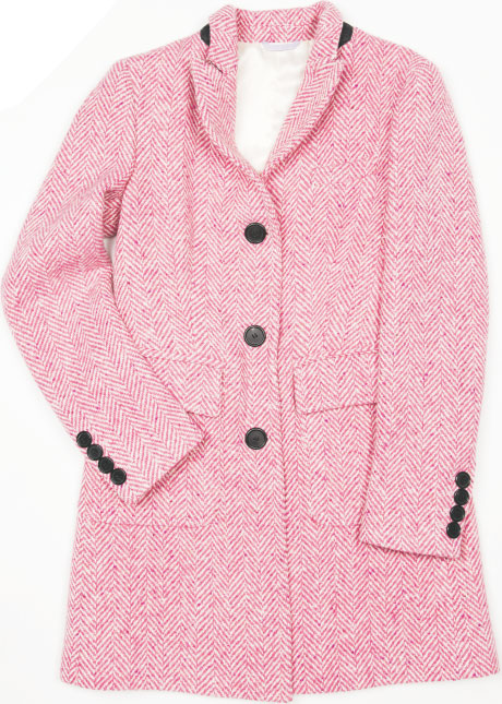 PINK LADY This neatly tailored herringbone coat by Il Cappottino reminds us of something all-time coat queen Audrey Hepburn might have donned. The Italian brand, founded in 2007, aims to improve every customer's image, one coat at a time. $1,265, at Ruth Shaw in Cross Keys.