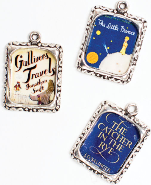 CHARMED For the book lover and jewelry buff, these adorable charms celebrate classic works such as The Catcher in the Rye. The seller stocks used and rare books, too. Be sure to pick your friend a real volume or two. Charms, $5 each, at the Annapolis Bookstore.