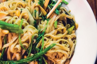 Cyrus Keefer's squid pad Thai with broccolini at Defie Moi.