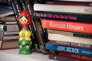 Russian books and collectibles decorate Roby's cozy language classroom at Friends.