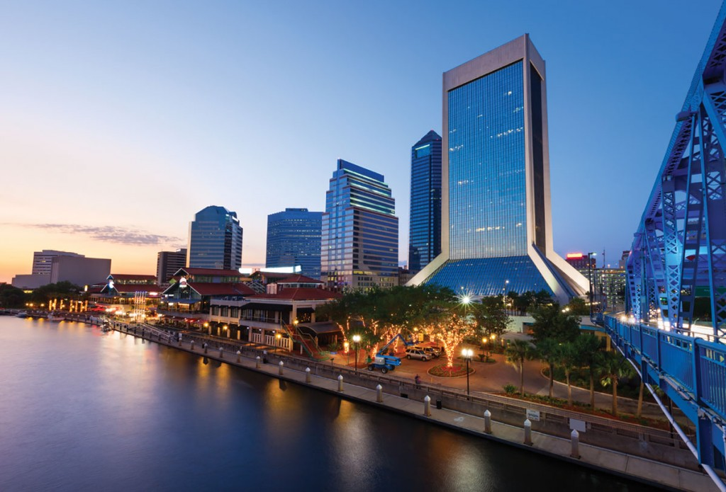 The St. Johns River flows through downtown Jacksonville.