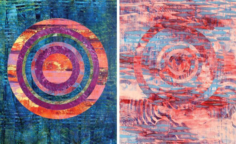 """Nautical Sunrise""; ""Sunrise."" Both are acrylic on paper, cut and collaged onto wood panel (2015)."