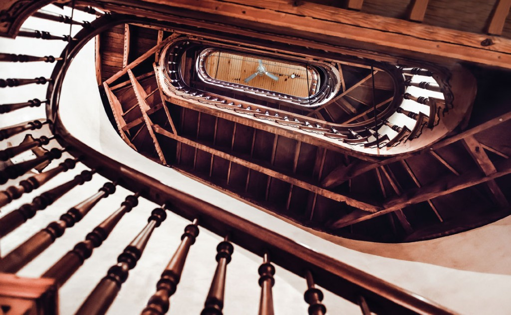 The beautiful winding staircase runs all the way from the basement to the main floor to the sec-ond floor, where the kitchen and living room are housed, to the third floor which holds the master suite and, finally, to the boys' room on the fourth floor.